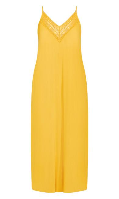 Crochet Neck Maxi Dress - gold