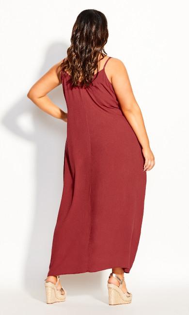 Crochet Neck Maxi Dress - rust