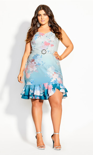 Tsubaki Floral Dress - cerulean