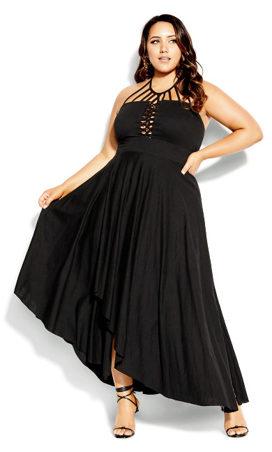 Plus Size Plait Detail Maxi Dress - black