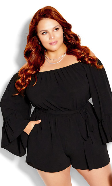 Plus Size Clothing - Romantic Sleeve Playsuit - black