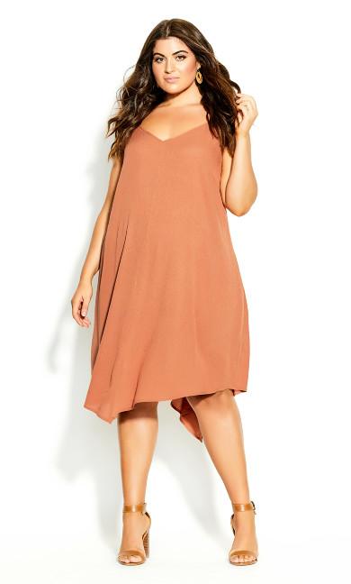 Plus Size Clothing Summer V Dress - tawny