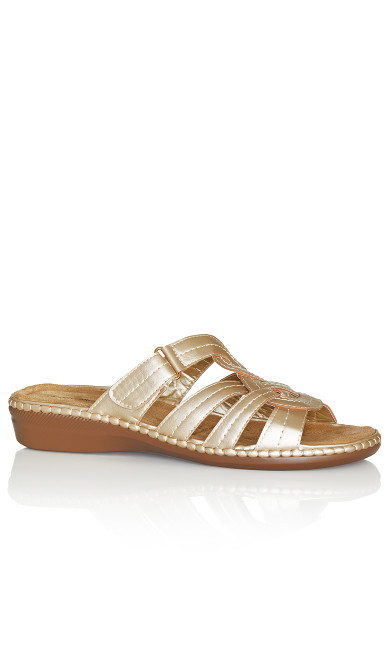 Plus Size Marin Stitch Slide - gold