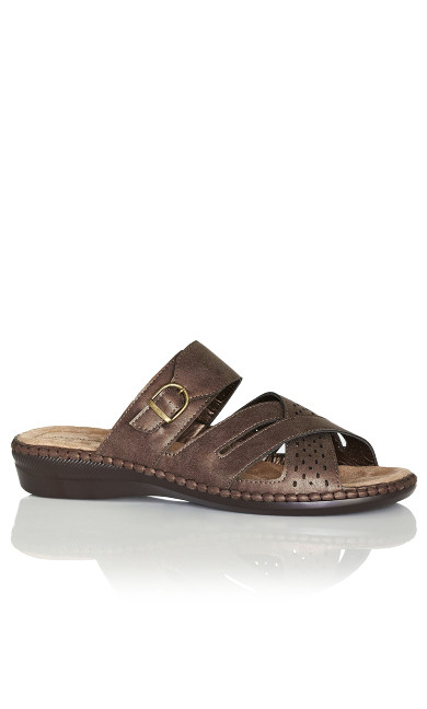 Plus Size Kate Buckle Slip On - bronze