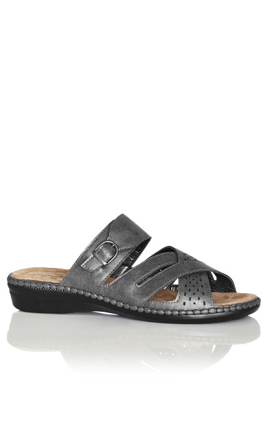 Plus Size Kate Buckle Slip On - pewter