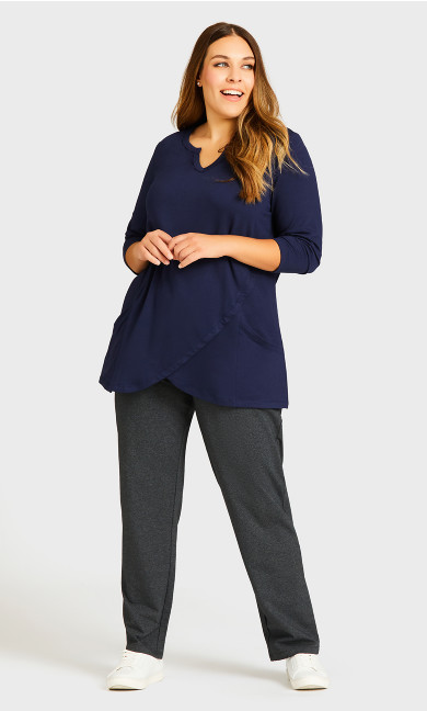 Taj Color Wrap Tunic - navy