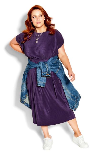 Plus Size Blue Baby Pleated Midi Dress