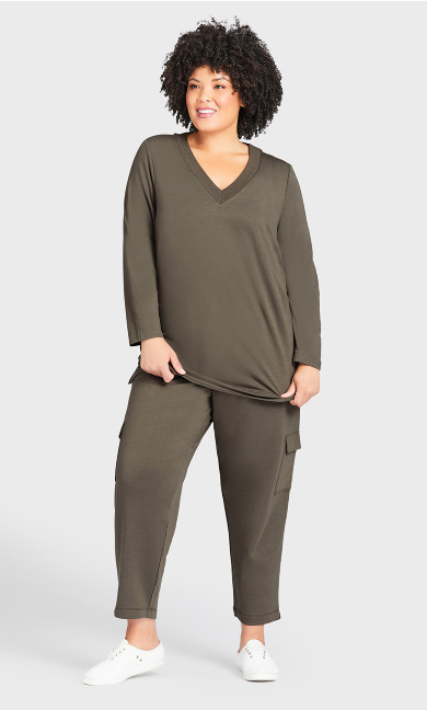 Plus Size Lounge Pant Khaki - average