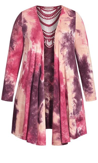 Tie Dye Cage Cardigan - pink