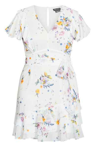 Flutter Rose Dress - white