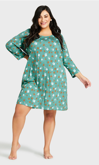 Plus Size Tea Sleep Shirt - teal