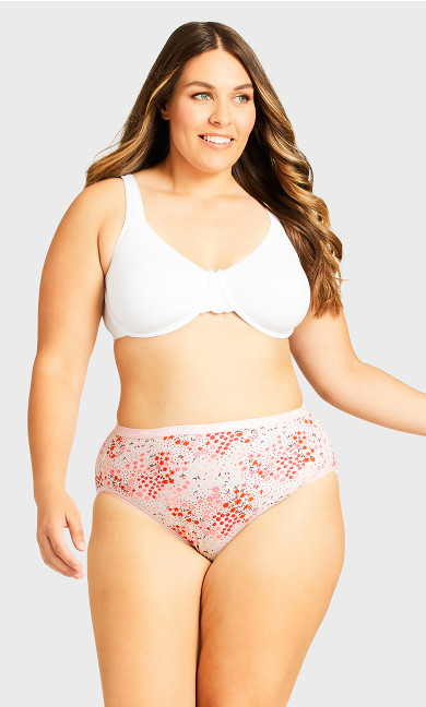 Fashion Cotton Hi Cut Brief - pink ditsy