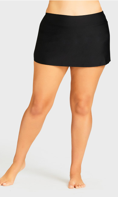 Flare Knit Swim Skirt - black