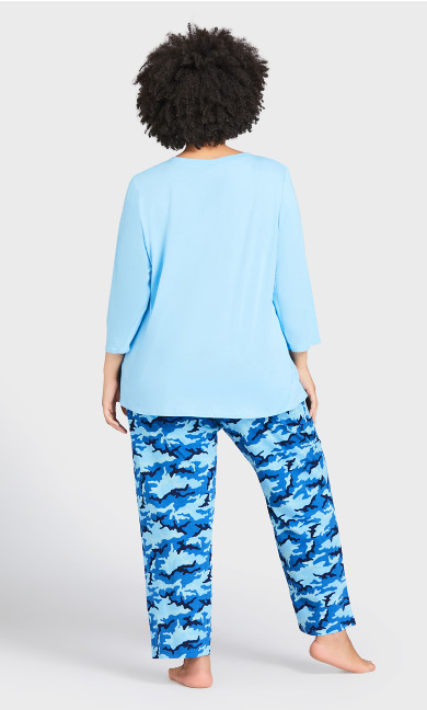 Nature Print Sleep Pant - blue camo