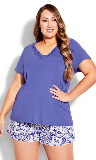 Lace Overlay Sleep Top - purple