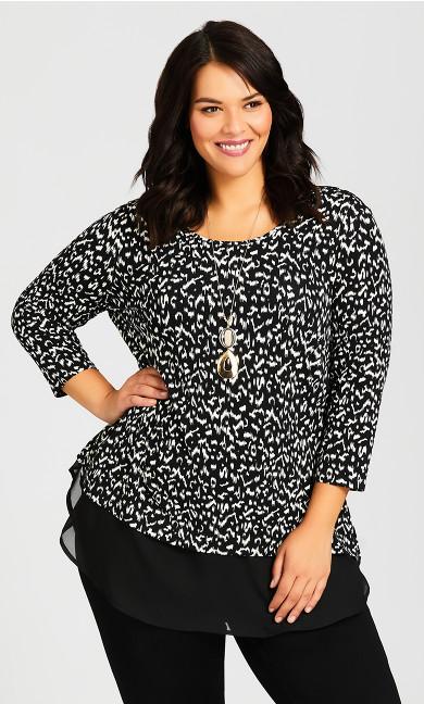 Plus Size Albany Print Tunic - black batik