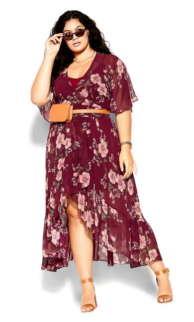 Fresco Floral Maxi Dress - pomegranate