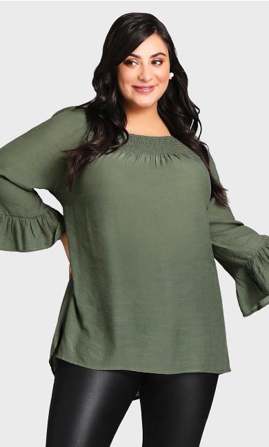 Plus Size Flutter 3/4 Sleeve Top Olive Green Off Shoulder