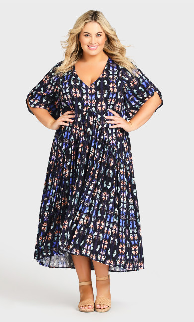 Plus Size Val Print Dress Navy Butterfly