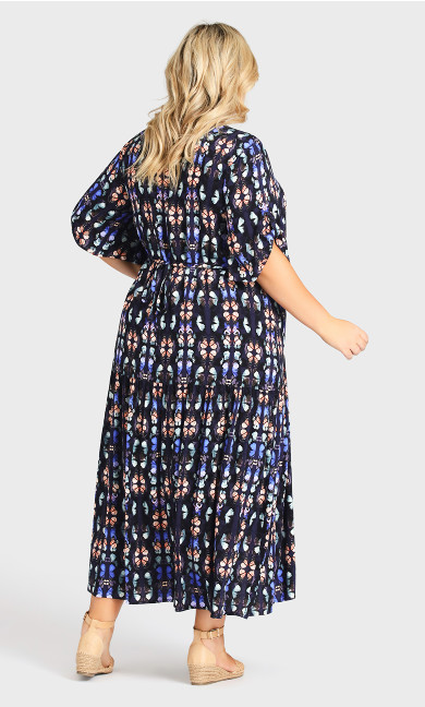 Val Print Dress - navy butterfly