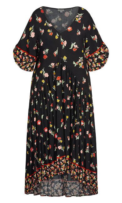 Val Print Dress - black floral