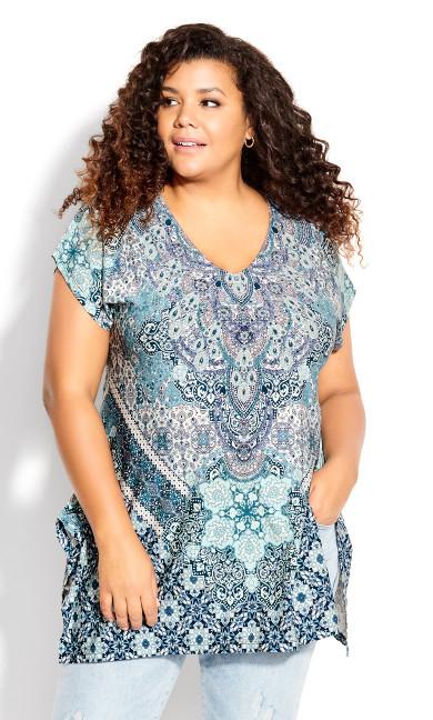 Plus Size Bonnie Bling Tunic - blue