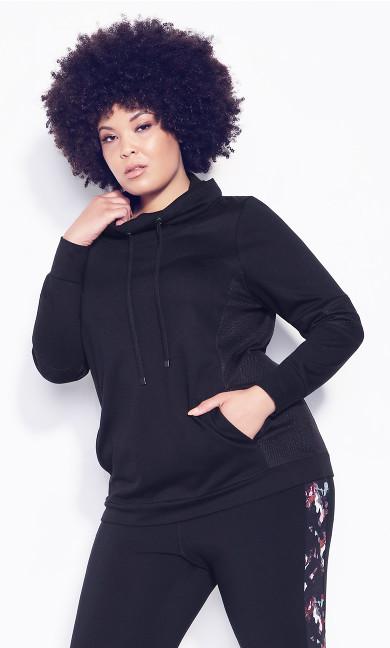 Laid On Mesh Sweatshirt - black