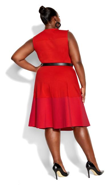 Color Splice Dress - red