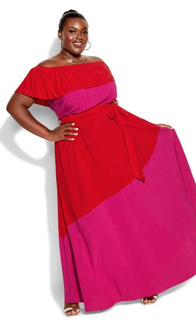 Colorburst Maxi Dress - fuchsia
