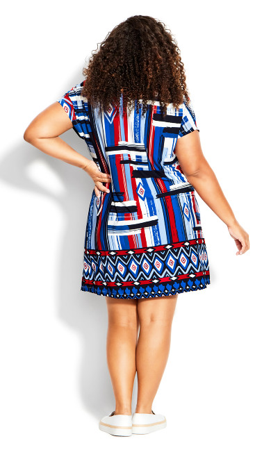 Adele Placement Dress - navy geo