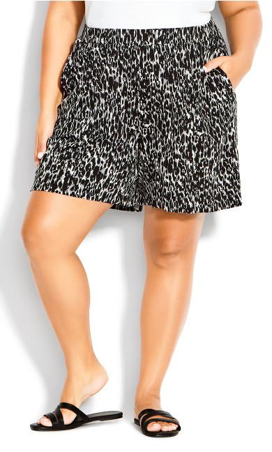 Alisha Knit Print Short - gray black print