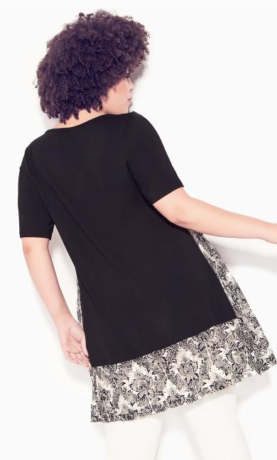 Lyric Lace Contrast Tunic - black print
