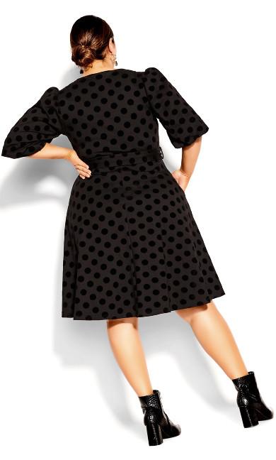 Spot Flock Dress - black