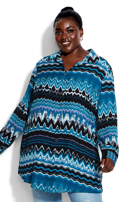 Celeste Longline Print Shirt - teal chevron