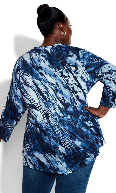 Tie Dye Print Top - blue