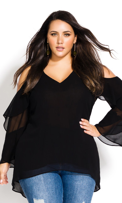 Plus Size Hi Lo Cold Shoulder Top - black