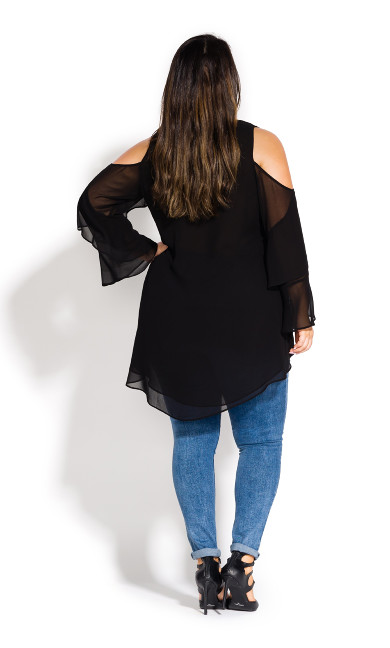 Hi Lo Cold Shoulder Top - black