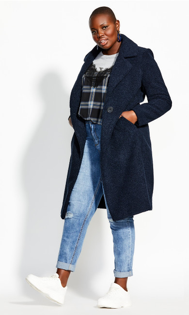 Women's Plus Size Plush Love Teddy Coat - navy