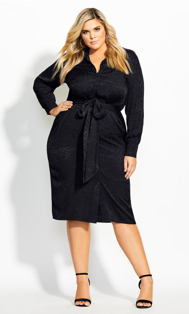 Women's Plus Size Brocade Twist Dress - black