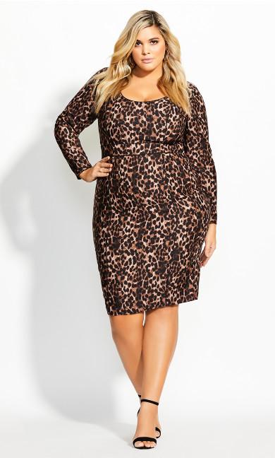 Women's Plus Size Animalistic Dress - ochre