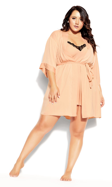 Plus Size Chemise And Robe Set - champagne