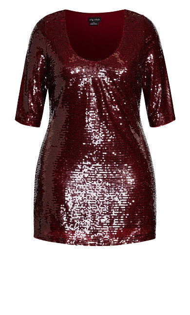 Sequin Glow Dress - ruby
