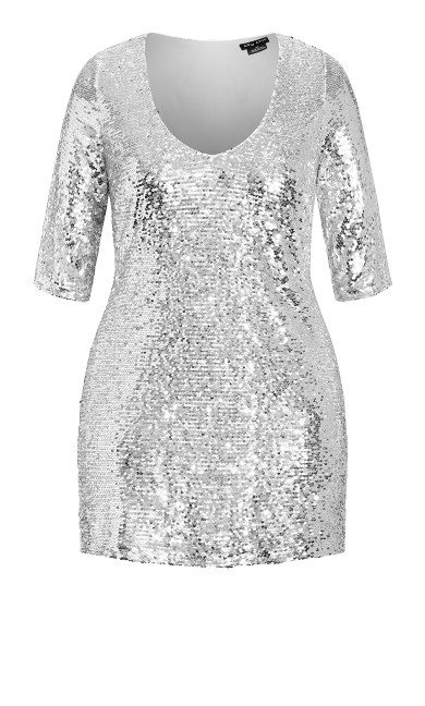 Sequin Glow Dress - silver