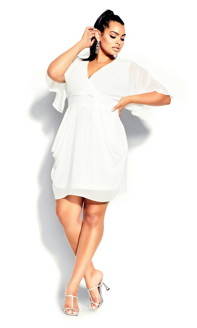 Plus Size Sequin Wrap Dress - ivory