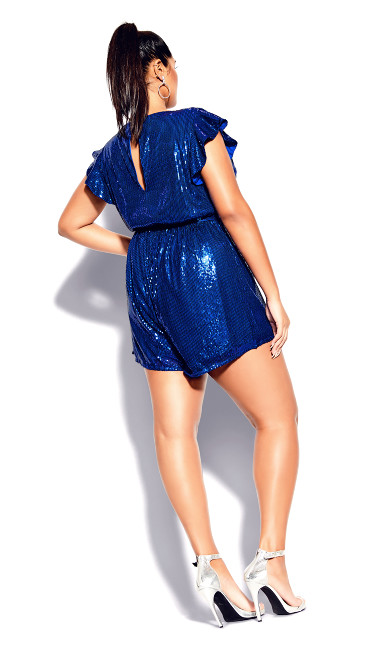 Sequin Playsuit - electric blue