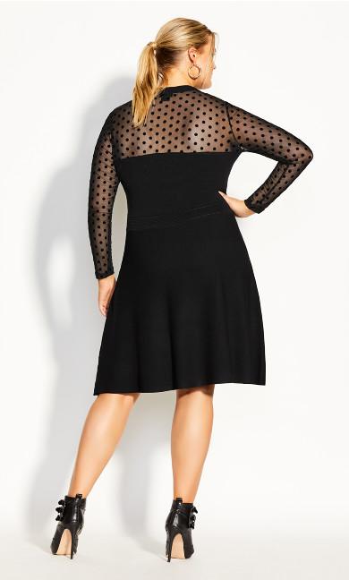 Spot Sweater Dress - black