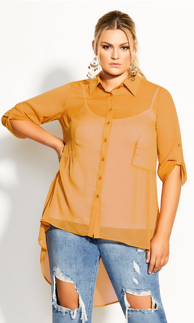 Plus Size Hi Lo Feels Shirt - gold