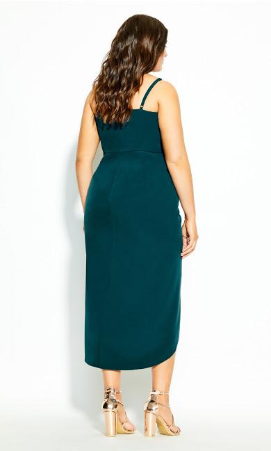 Sassy Notch Neck Dress - emerald