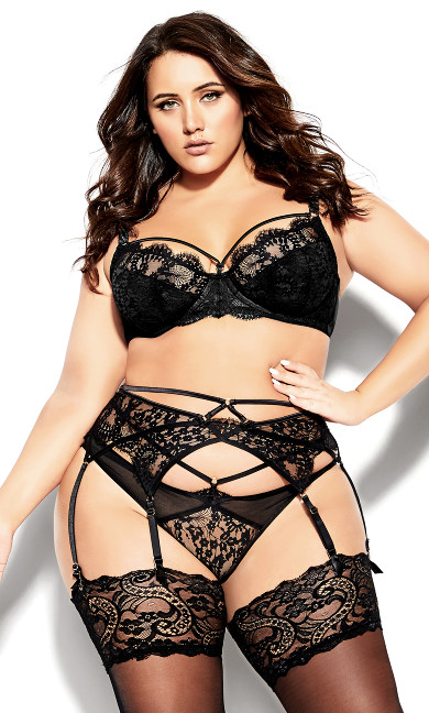 Plus Size Delores Garter Belt - black