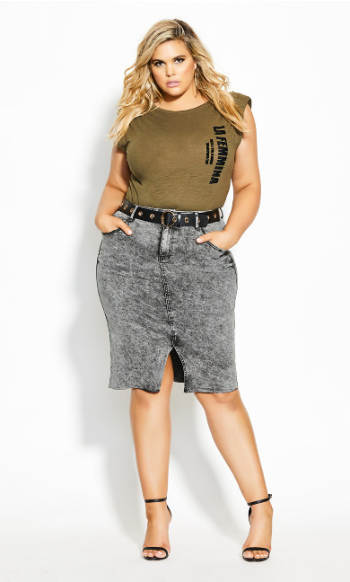 Plus Size Midi Denim Skirt - acid